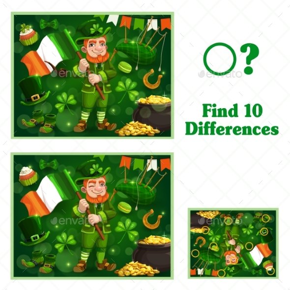 Kids Game Find Ten Differences for St Patricks Day