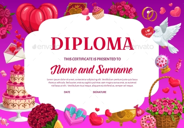 Valentines Day Education Diploma Vector Template