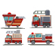 Red Cartoon Fire Engine Vector Set - GraphicRiver Item for Sale