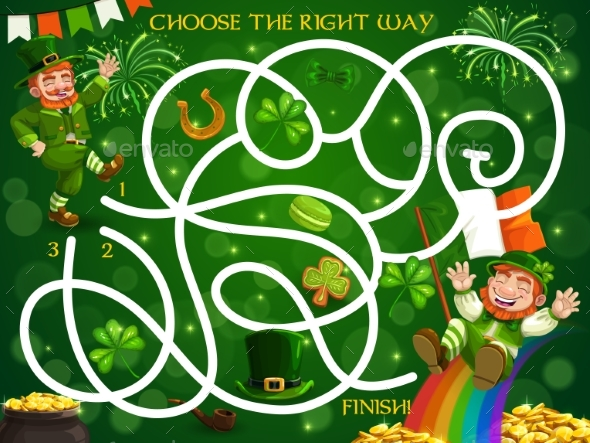Kids Maze Game with St Patricks Day Leprechauns