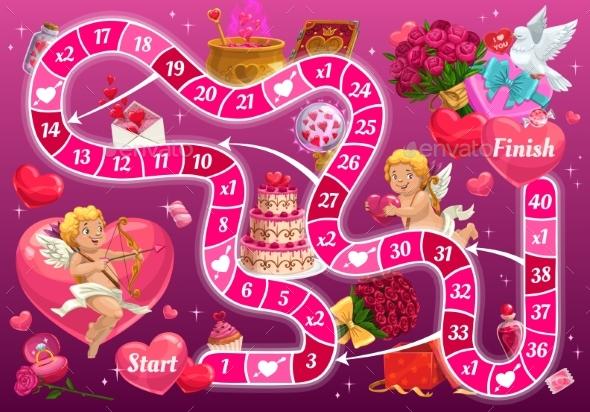 Kids Step Board Game Vector Valentine Boardgame