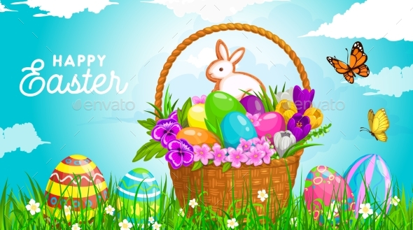 Easter Basket with Eggs Bunny