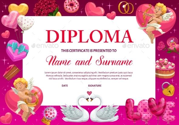 School Diploma Valentine Kindergarten Certificate