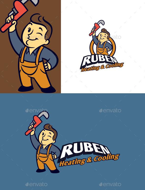 Cartoon HVAC Professional Character Mascot Logo