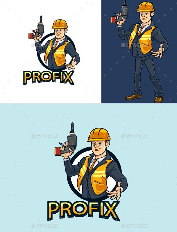Cartoon Technician Professional Character Mascot Logo