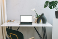 Modern workplace with an open laptop with white screen and green monstera on marble table, placeit - PhotoDune Item for Sale