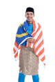 excited malaysian male muslim with flag - PhotoDune Item for Sale