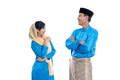 man and muslim woman talking isolated over white - PhotoDune Item for Sale