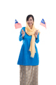 muslim woman excited holding flag of malaysia - PhotoDune Item for Sale