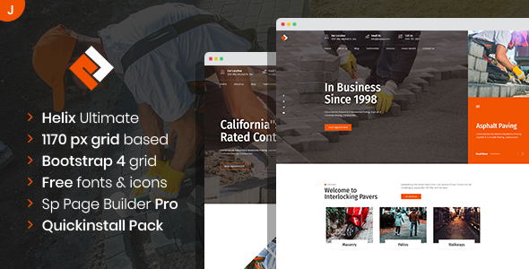 Pawex – Paving Contractor Joomla Template with Page Builder, Gobase64