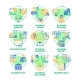 Business Goal Set Icons Vector Color Illustrations - GraphicRiver Item for Sale