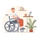 Young Disabled Person in Wheelchair with Cat - GraphicRiver Item for Sale