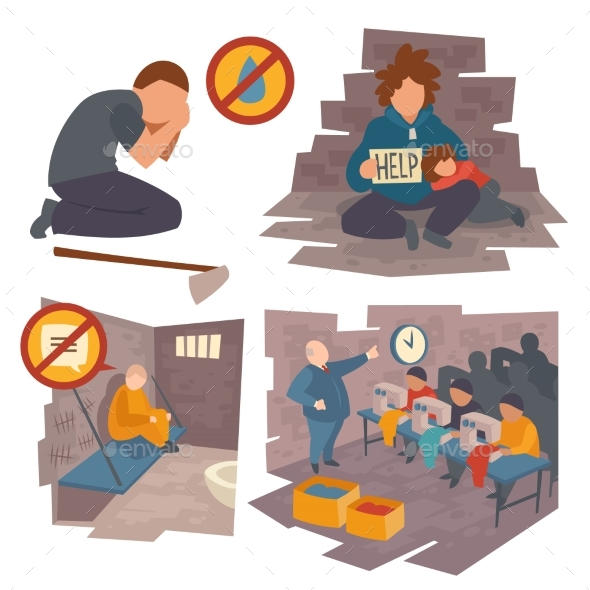 People in Trouble Cartoon Flat Vector Icons Set