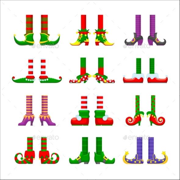 Cartoon Elves Legs Vector Icons Set Feet Stoking