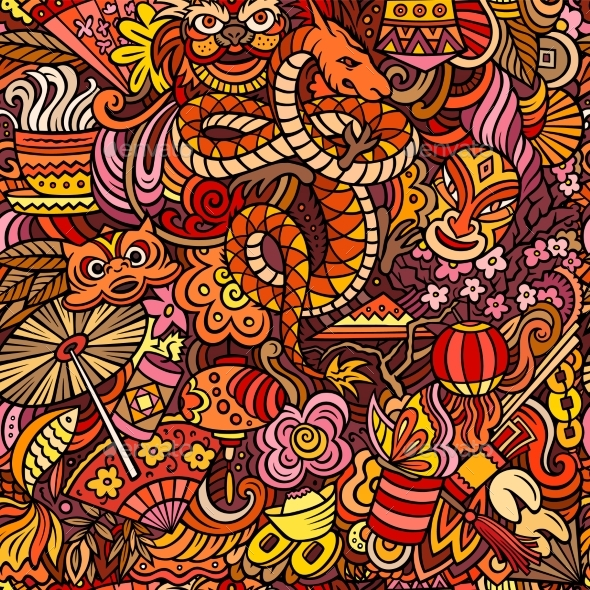 Cartoon Cute Doodles Chinese New Year Seamless