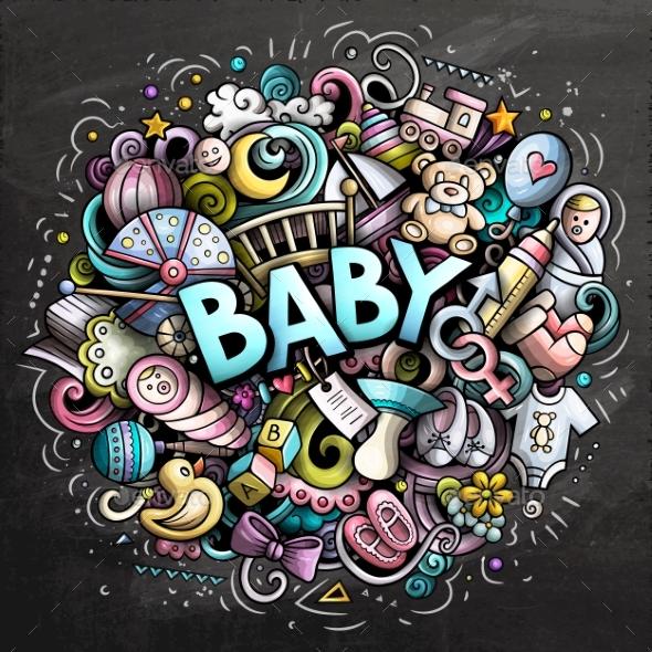 Baby Hand Drawn Cartoon Doodles Illustration