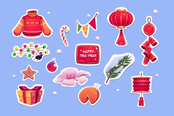 Chinese New Year Stickers with Red Lantern
