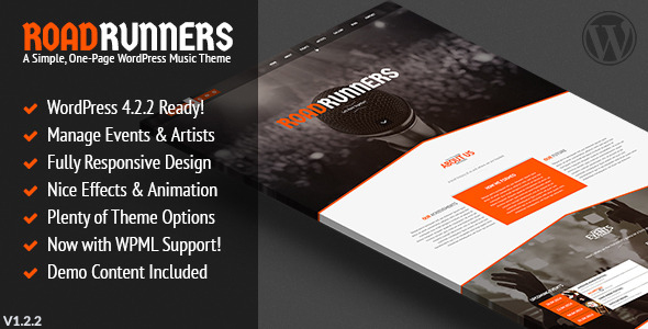 RoadRunners – A One-Page Music WordPress Theme, Gobase64