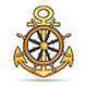 Ship Anchor and Steering Wheel Nautical Emblem - GraphicRiver Item for Sale