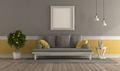Gray and yellow retro living room - PhotoDune Item for Sale