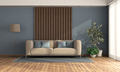 Living room with sofa against wooden panel - PhotoDune Item for Sale