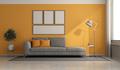Gray and orange modern living room - PhotoDune Item for Sale