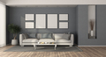 White modern sofa in a blue living room - PhotoDune Item for Sale
