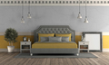 Gray and yellow master bedroom in retro style - PhotoDune Item for Sale