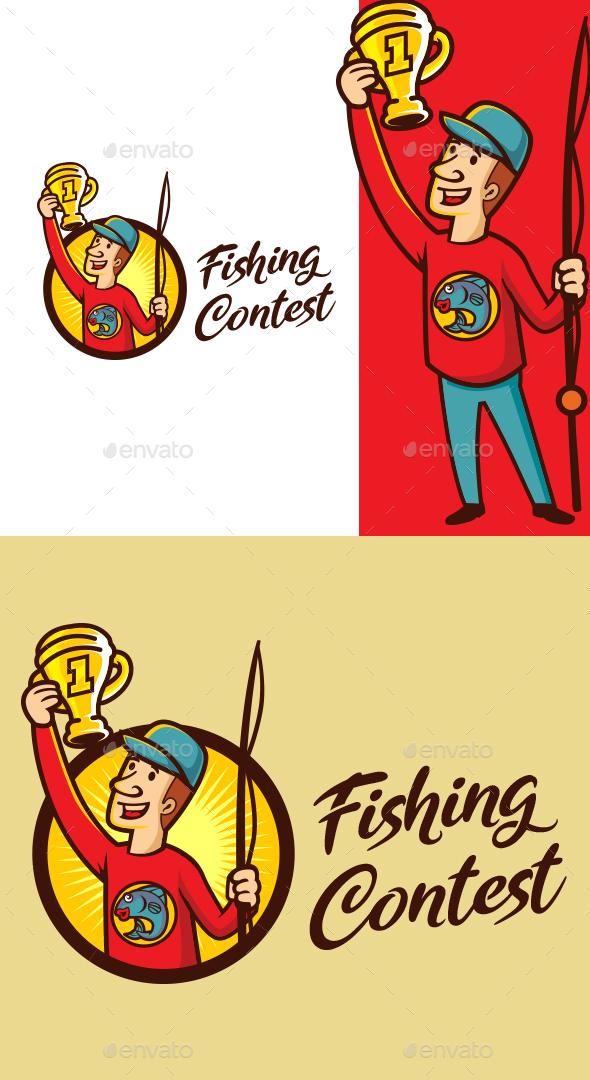 Cartoon Fishing Contest Champion Character Mascot Logo