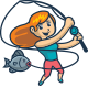 Cartoon Angler Girl Character Mascot Logo - GraphicRiver Item for Sale