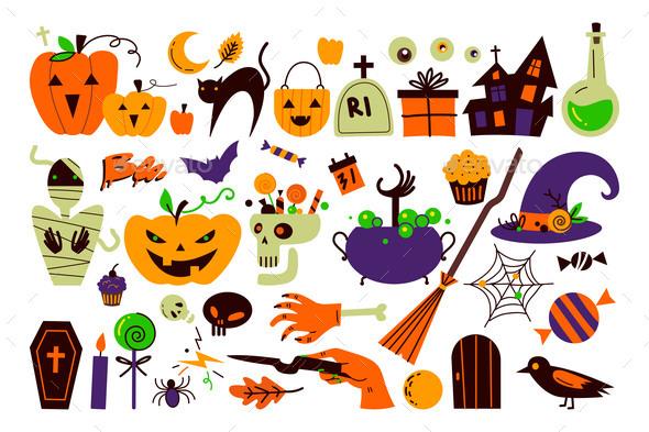 Halloween Holiday Doodle Set