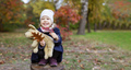 Happy little girl with toy dog in autumn park - PhotoDune Item for Sale