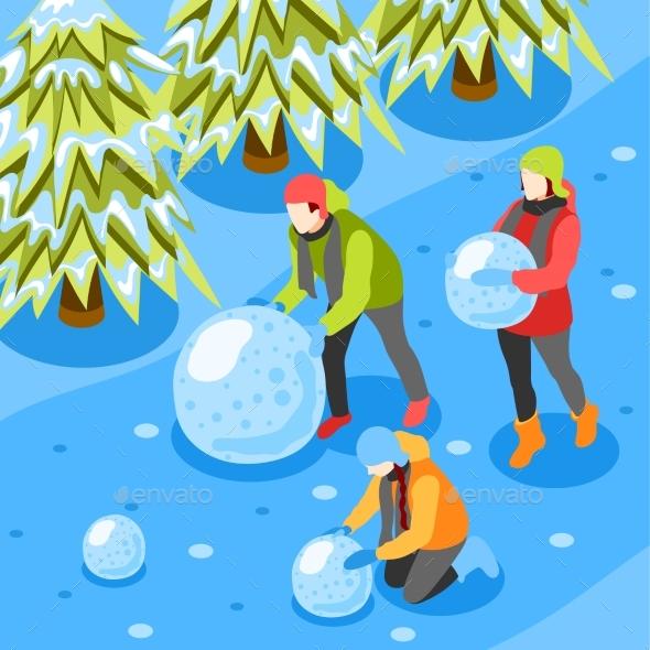 Winter Fun Isometric Composition
