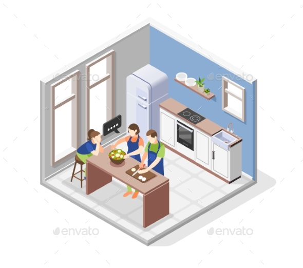 Family Cooking Concept