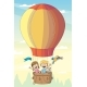 Children And Animals In Hot Air Balloon - GraphicRiver Item for Sale