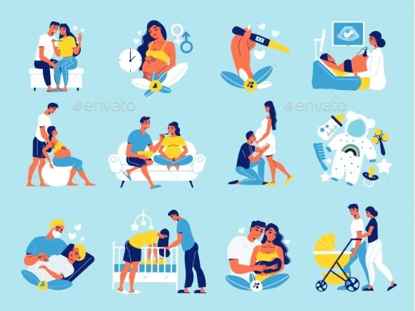 Pregnant Motherhood Icon Set