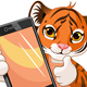 Cute Tiger holding tablet - GraphicRiver Item for Sale