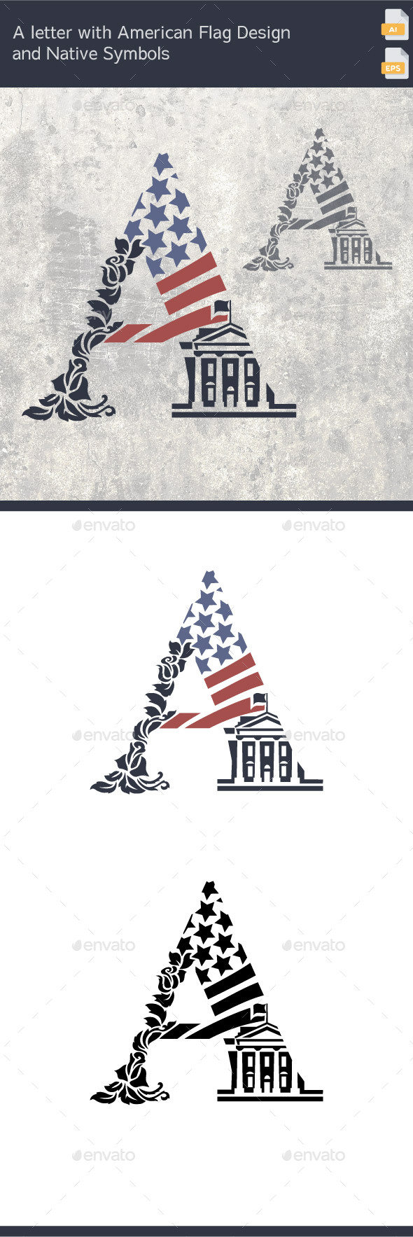The A Letter with American Flag Design and Native Symbols