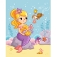 Cute Beautiful Mermaid Sits on a Stone Under Water - GraphicRiver Item for Sale