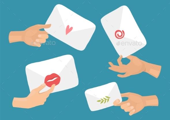 Hands Hold Envelopes