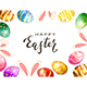 Colorful Easter Eggs and Rabbit Ears on White - GraphicRiver Item for Sale