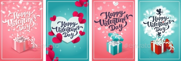 Valentine s Day Greeting Cards  Set of Love Day