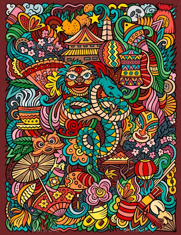 Chinese New Year Hand Drawn Vector Doodles