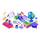 Online study Distance education technology from home banner - GraphicRiver Item for Sale