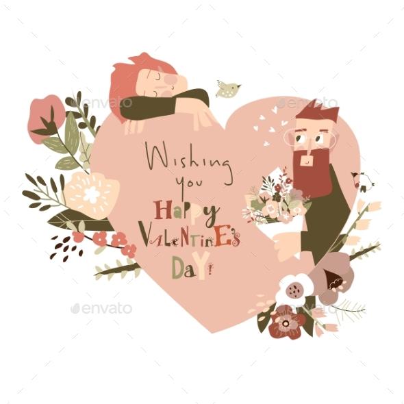 Happy Couple in Love Celebrating Valentines Day