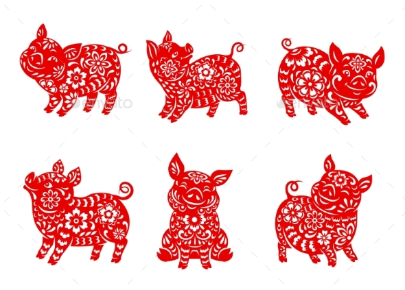 Chinese Zodiac Animal Pig or Boar Vector Icons Set