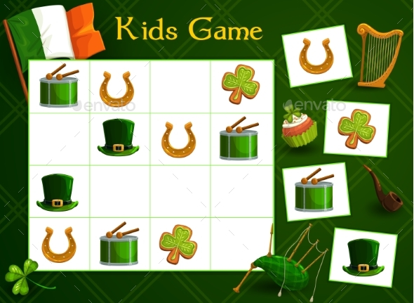 Kids Game Vector Riddle with St Patricks Elements