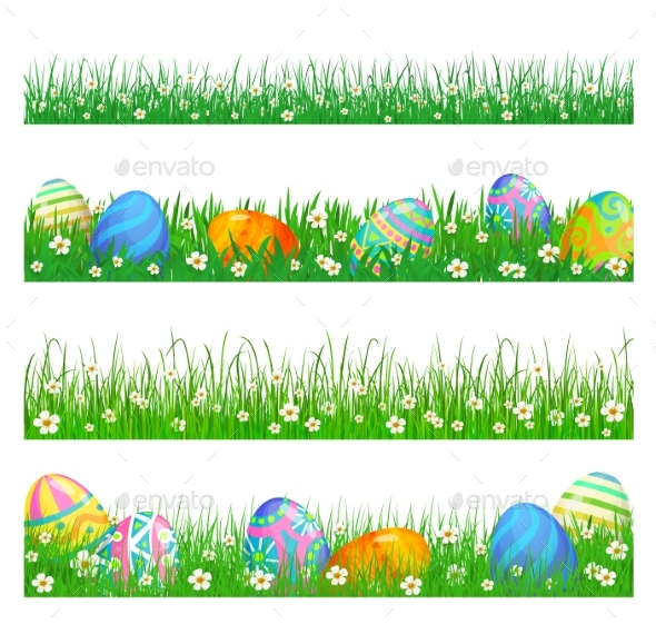 Easter Borders of Green Grass and Eggs