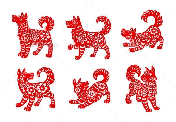 Chinese Zodiac Animal Dog Isolated Vector Icons