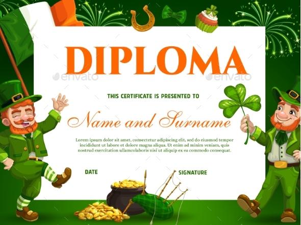Education Kids School Diploma for St Patricks Day